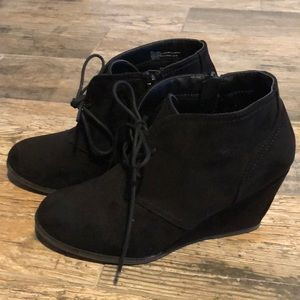 Black microsuede wedged lace up boot Size 8.5